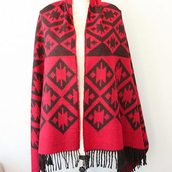 Red blanket scarf Autumn fall wrap Winter shawl Large fringe scarf Native scarf tribal ethnic scarves Boho Bohemian Geometric scarf