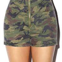 High-Waisted Camo Shorts