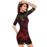 Red Ladies V-neck Slim Lace Dress Club wear