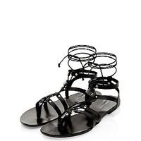 Black Leather Lace Up Gladiator Sandals