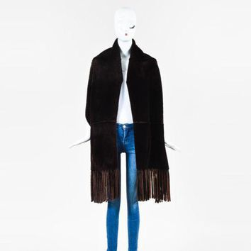 Burberry London Brown Shearling Fringed Pocketed Scarf