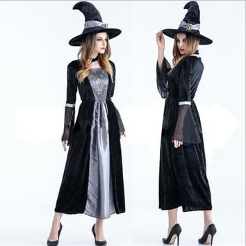 2017 free custom cosplay costume adult Halloween costume Female witch costume party dress Vampire spider witch skirt cos anime