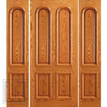 Prehung Two Sidelights Door, Front Mahogany 4 Panel, Arch Panel