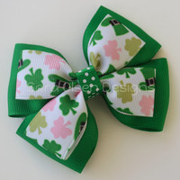 St. Patrick's Day Stacked Hairbow, Double Tuxedo Bow, Basic Boutique Hairbow, Green White Pink Black, 3.5 Inch Bow, Leprechaun Leprechan