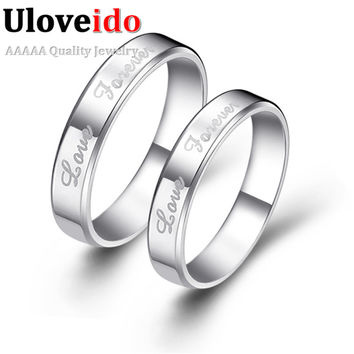 Forever Love Wedding Engagement Jewelry Couple Rings Affordable Aneis Platinum Ring Unique Anel Bridal Accessories Uloveido J014