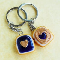 polymer clay hearts pb and j peanut butter and grape jelly best friend key chains bff kawaii