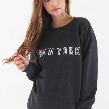 New York Oversized Sweater - Dark Heather Grey