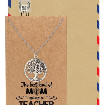 Jovie Tree of Life Necklace, Gift for Mom, Womens Jewelry with Greeting Card