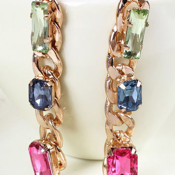 Golden Crystal Embellished Chunky Chain Earrings