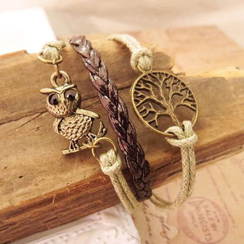 Tree and Owl Cuff Bracelet by trinketsforkeeps on Etsy