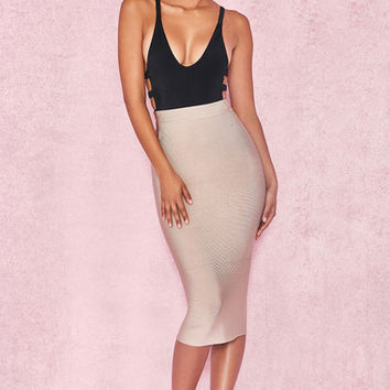 Clothing : Skirts : 'Giannelli' Beige Midi Length Bandage Skirt