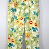 Chicos 2.5 Floral Crop Pant Cotton Blend 12-14