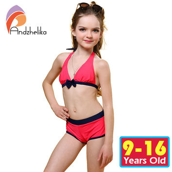 Andzhelika Swimsuit for girls 2017 Summer Girls Bikini Cute Bow Children,NEW!!