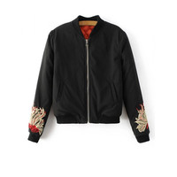 Quilted Embroidered Zipped Bomber Jacket