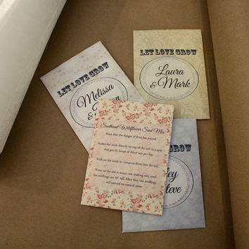 100 Wildflower Seed Packet Favors - Let Love Grow - Wedding or Shower Favors