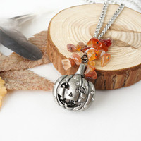 Pumpkin Head Pendant with Red Orange Carnelian Stone Chips, Halloween Jewelry