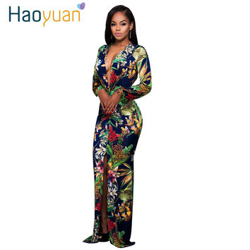 HAOYUAN Sexy Maxi Dress  Women Split Long Sleeve Print Autumn Deep-V Party Dresses Vintage Bodycon Dress Vestido De Festa