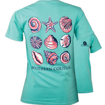 Southern Couture Preppy Nine Sea Shells Comfort Colors T-Shirt