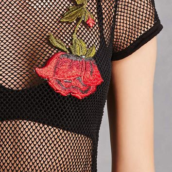 Embroidered Fishnet Pants