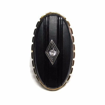 Long Art Deco Carved 14K Onyx Ring Size 5