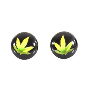 Pot Leaf Stud Earrings Silver Tone Black Weed Marijuana Posts EF17 Fashion Jewelry