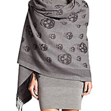 Alexander McQueen - Skull Wool & Cashmere Shawl - Saks Fifth Avenue Mobile