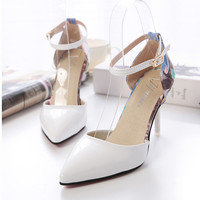 Sexy ladies pumps buckle flowers high heeled sandals rhinestone high heels shoes woman two-piece pointed toe sandalias party