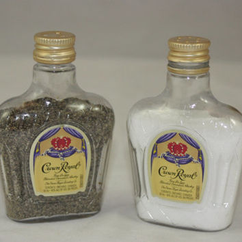 Crown Royal Salt & Pepper Shaker, Upcycled Liquor Bottles