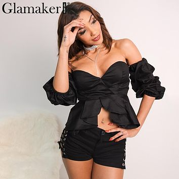 Glamaker Sexy off shoulder ruffle blouse shirt Fitness elegant  backless blouse blusas Autumn slim beach women tops