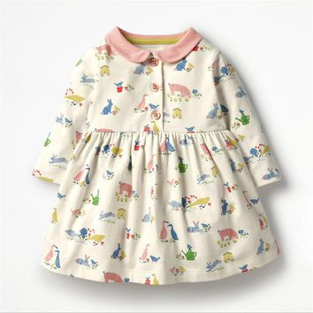 Girls dresses baby clothing autumn 2018 cotton dress children long sleeve clothes collar kids clothes party baby girls dresses
