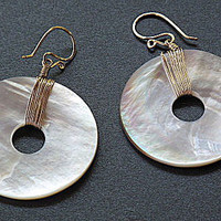 Modglam 101 mother of pearl disk earrings by CalicoJunoJewelry