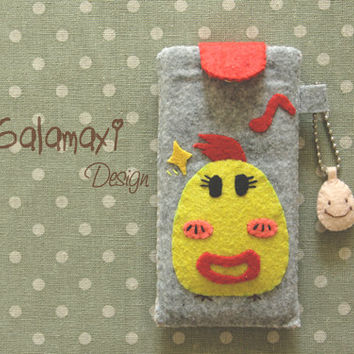 Handmade Cellphone Cozy, Felt Fabric iPhone Pouch Case, Handmade iPhone 4/5 Sleeve Pouch Pocket / Nerdy Chicken Cellphone Sleeve Cover