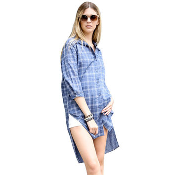 High Low Plaid/Check Button Down 3/4 Sleeve Long Denim Shirt Dress