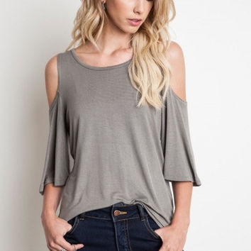 RELAXED FIT CUT OUT TEE - AVAIL IN OLIVE OR BLACK
