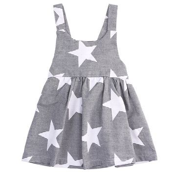 Baby kids Children Girls Dresses Fashion Infant Cotton Bow Cute Casual Gray Summer Beach Clothing Star Stripe Party Girl Dress