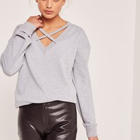 Missguided - Grey Cross Front Sweatshirt