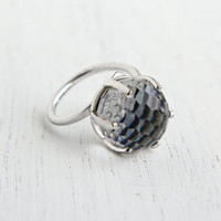 Vintage Crystal Ball Ring - Silver Tone Signed Sarah Coventry Adjustable Costume Jewelry Cocktail Ring / New Bermuda Blue