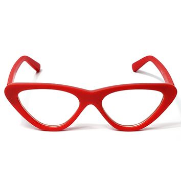 TWIGGY CAT EYE RETRO CLEAR FRAMES - RED