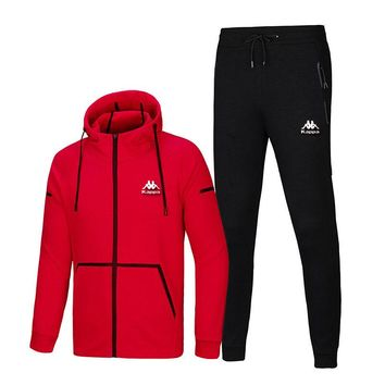KAPPA 2018 autumn and winter new hooded running sportswear casual two-piece suit Red