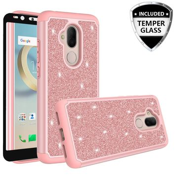Revvl 2 Plus Case, Alcatel 7 Case, Glitter Bling Heavy Duty Shock Proof Hybrid Case with [HD Screen Protector] Dual Layer Protective Phone Case Cover for Alcatel Revvl 2 Plus W/Temper Glass - Rose Gold