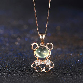 Teddy Bear 18k Rose Gold Green Prehnite Diamond Pendant Necklace Wedding Birthday Valentine's Mother's Day
