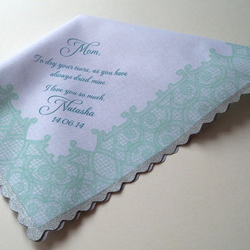 Mother of the Bride Gift, Personalized Wedding Handkerchief, Printed Lace in Aqua with Silver