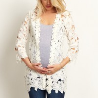White-Floral-Crochet-3/4-Sleeve-Cardigan