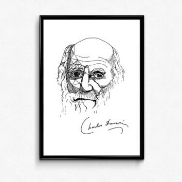 Darwin Art Print - Scientist Charles Darwin Portrait Ink Drawing - Science Poster ( Evolution, Biology) - Wall Decor A3 (12x17)