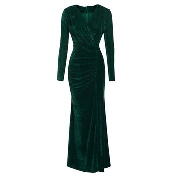 vogue elegant Women Ladies Long Sleeve Velvet dress for party Cocktail club pleated design V-neck hip-wrapped high split Dress