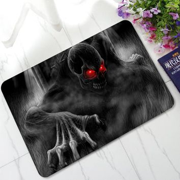 3D Evil Demon Eyes Skull Mats Anti-Skid Rubber Door Mats Kitchen Bathroom Hallway Welcome Decorative Area Rugs and Carpet - Color 2, 40X60cm