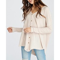 EVA - long sleeve thermal waffle knit v neck button down lightweight sweater - taupe