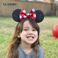 YUZEHD 1PC Children Hair Accessories Minnie Mouse Ears Hairbands Sequin Bowknot Headband for Girls mouse headband