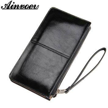 Ainvoev Women famous brand Oil wax leather zipper clutch wallet female color burglar robbed purse lady Multi-function phone bag