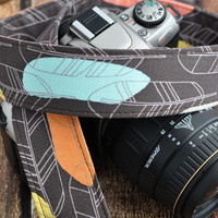 dSLR Camera Strap - Sketch Feathers in Brown - Spring Fashion, Spring Accessories